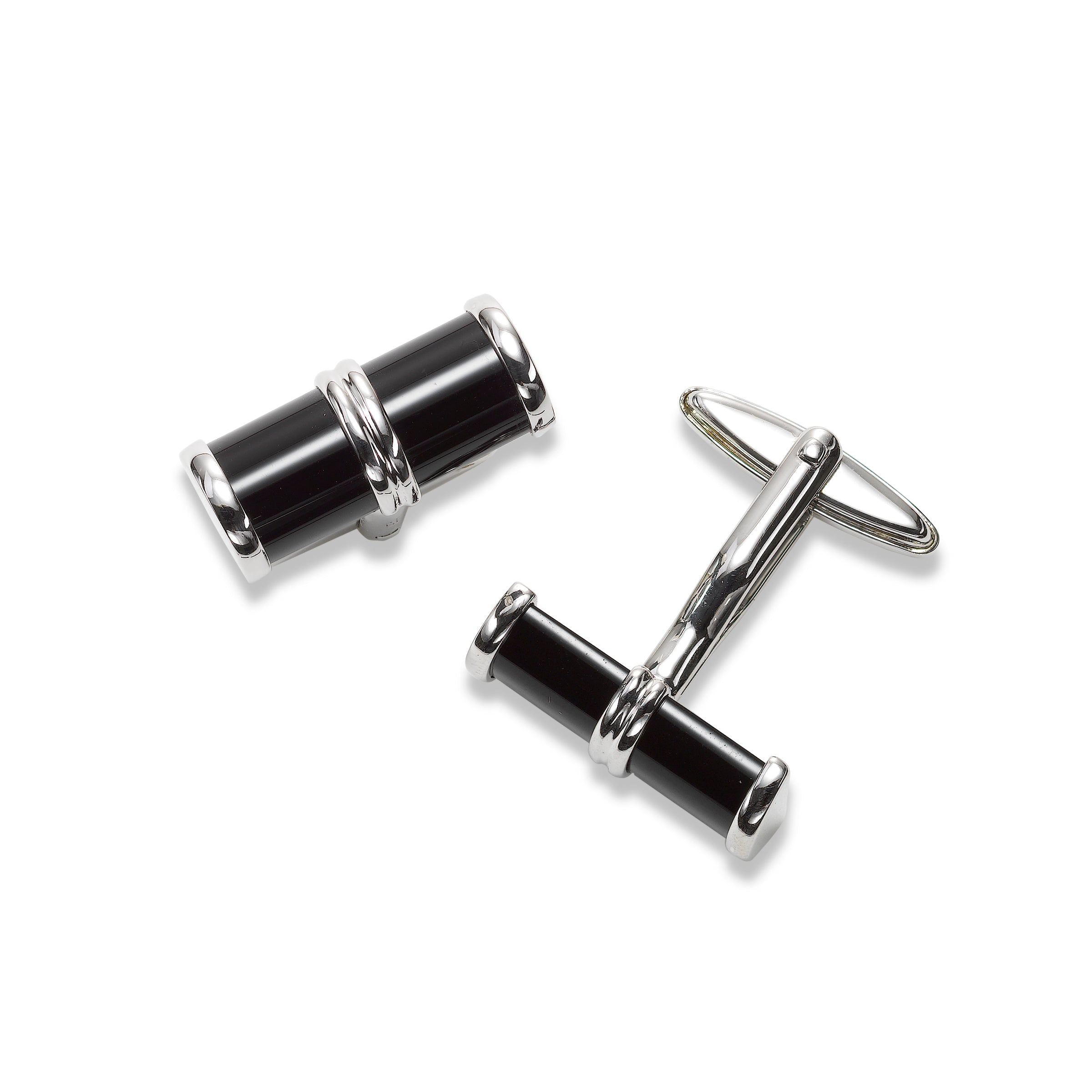 Black Onyx Cylinder Cuff Links, Sterling Silver