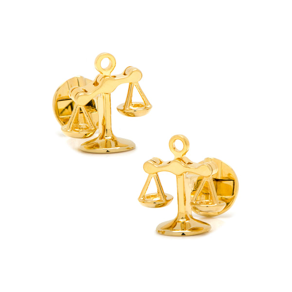 Scales of Justice Cufflinks, Gold Tone Plated