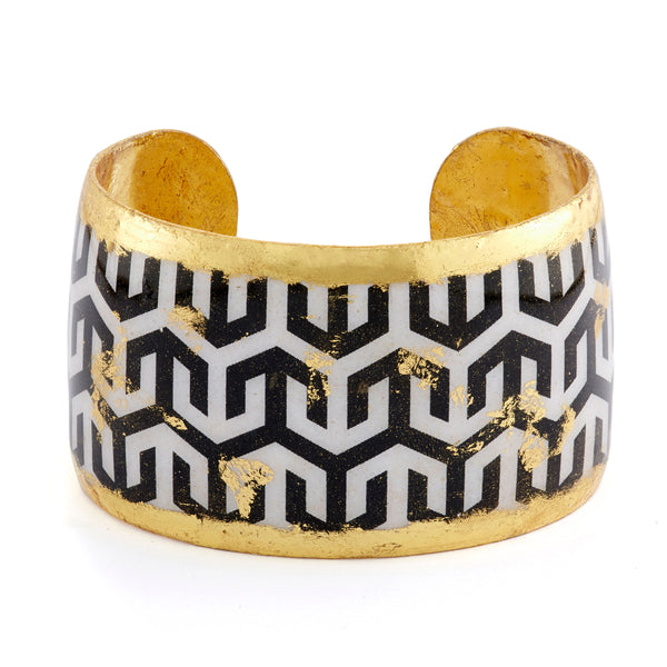 """Hera"" Enamel Cuff Bracelet, Gold Leaf, by Evocateur"