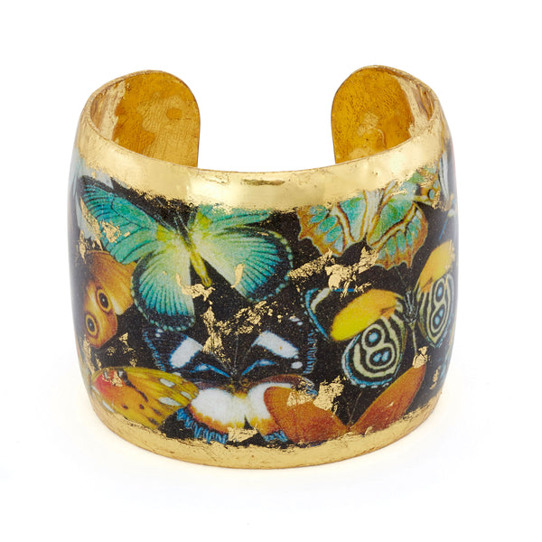 """Butterfly"" Enamel Cuff Bracelet, Gold Leaf, by Evocateur"