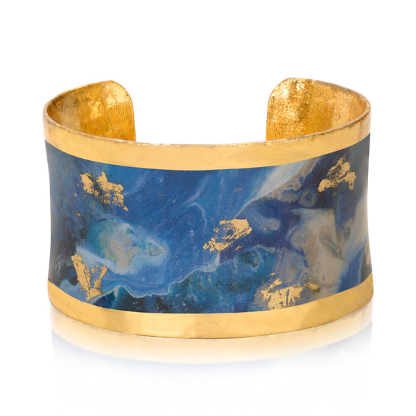 Wave Design Enamel Cuff Bracelet, Gold Leaf, by Evocateur