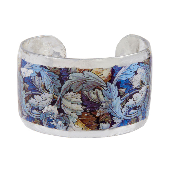 'Wiliam Morris Leaves' Enamel Cuff Bracelet, Silver Leaf, by Evocateur