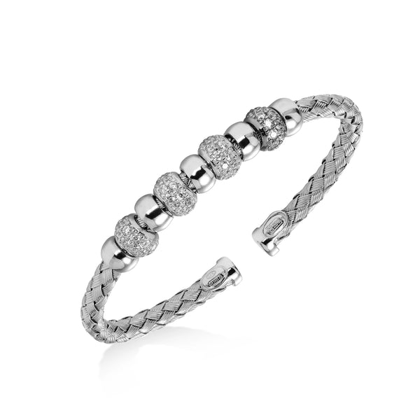 Woven Cuff with CZ Rondelles, Sterling Silver