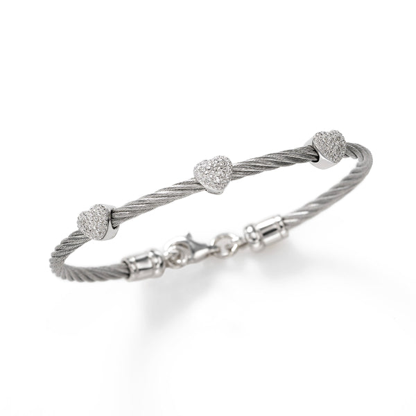 Child's Three Diamond Heart Bracelet, Sterling Silver and Stainless Steel