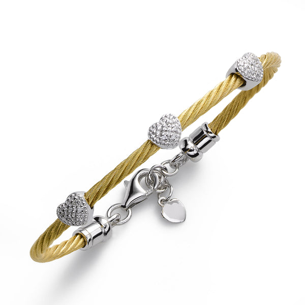 Child's Diamond Heart Bracelet on Yellowtone Cable, SS