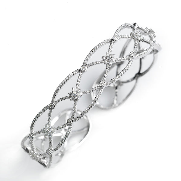 Diamond Lattice Cuff Bracelet, 14k White Gold