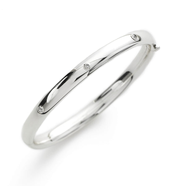 Child's Bezel Set Diamond Bangle Bracelet, Sterling Silver