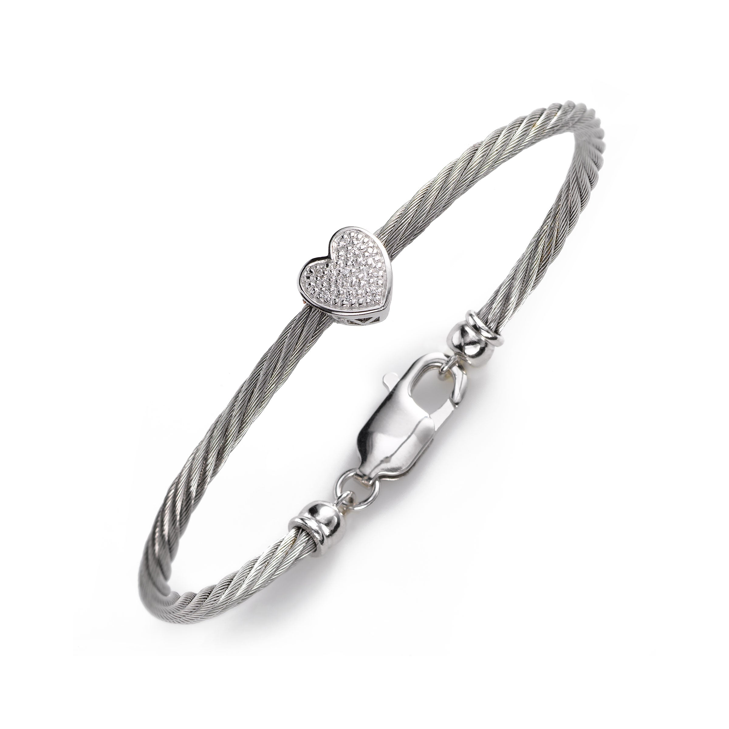 Child's Diamond Heart Bracelet, 5.50 Inches, Stainless and Silver