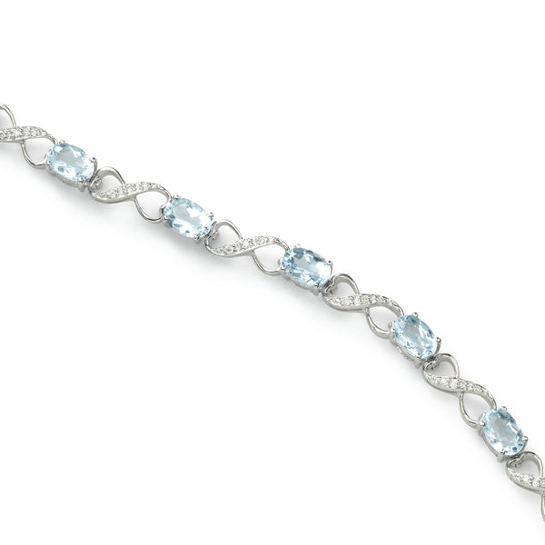 Blue Topaz and Diamond Bracelet, 14K White Gold