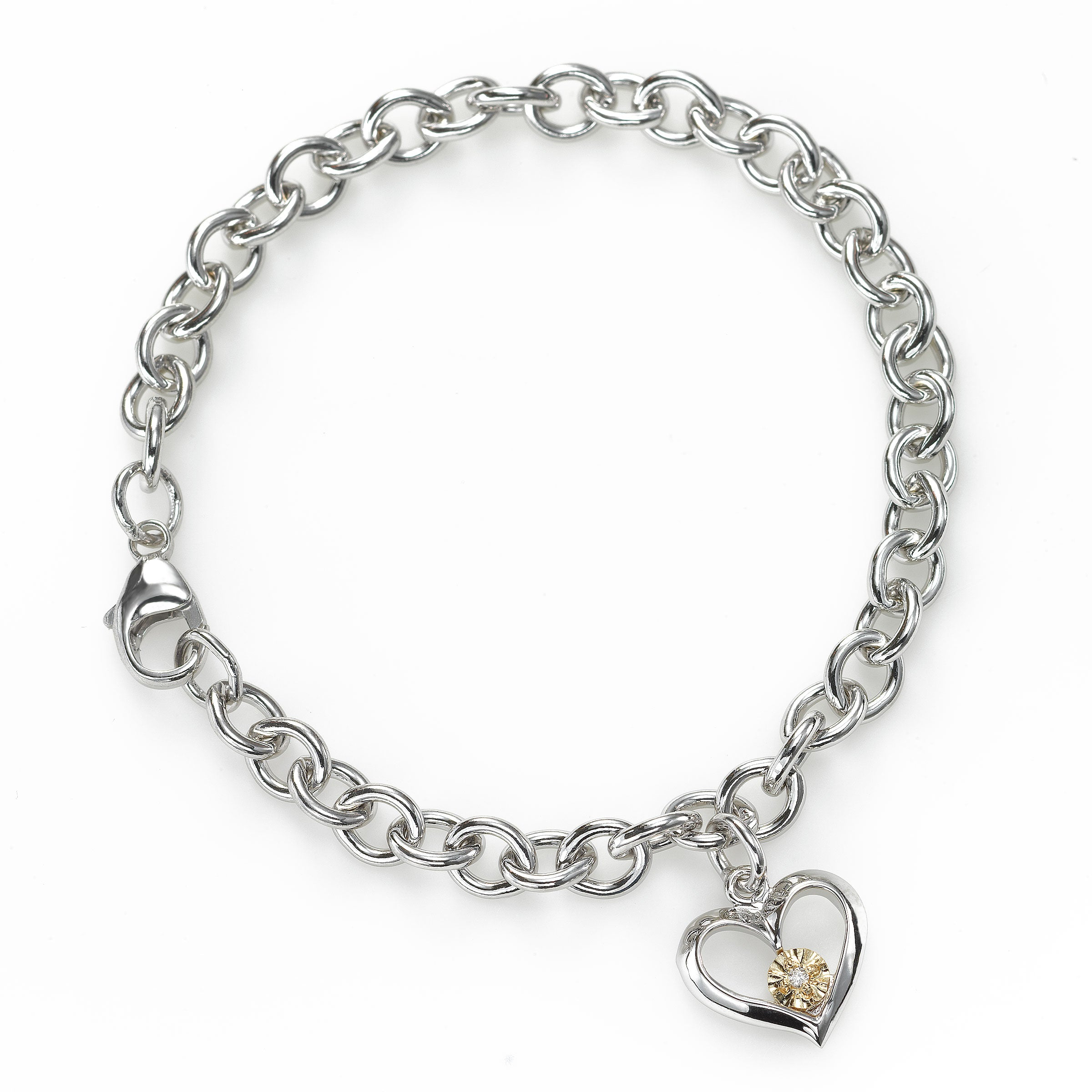 Diamond Tween Size Heart Charm Bracelet, Silver with 14K, 6.75 Inches