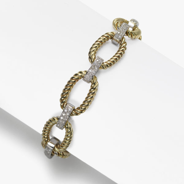 Oval Twist Link Gold Bracelet with Diamonds, .85 Carat, 14K Yellow and White Gold