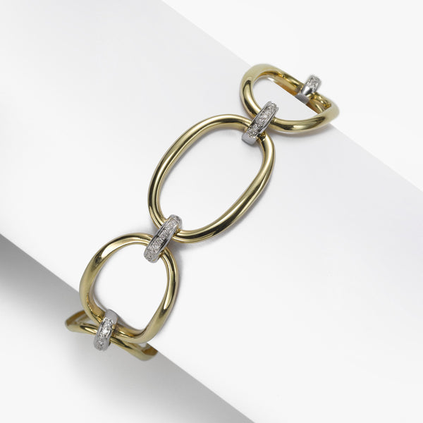 High Polish Oval Link Bracelet, Diamonds .40 Carat, 14K Gold