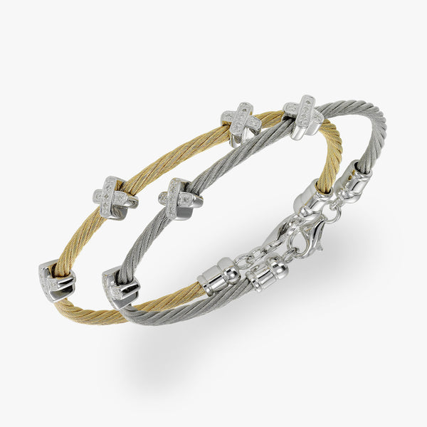 Diamond Cable Bracelet, Steel with Yellow Finish, Silver X Stations