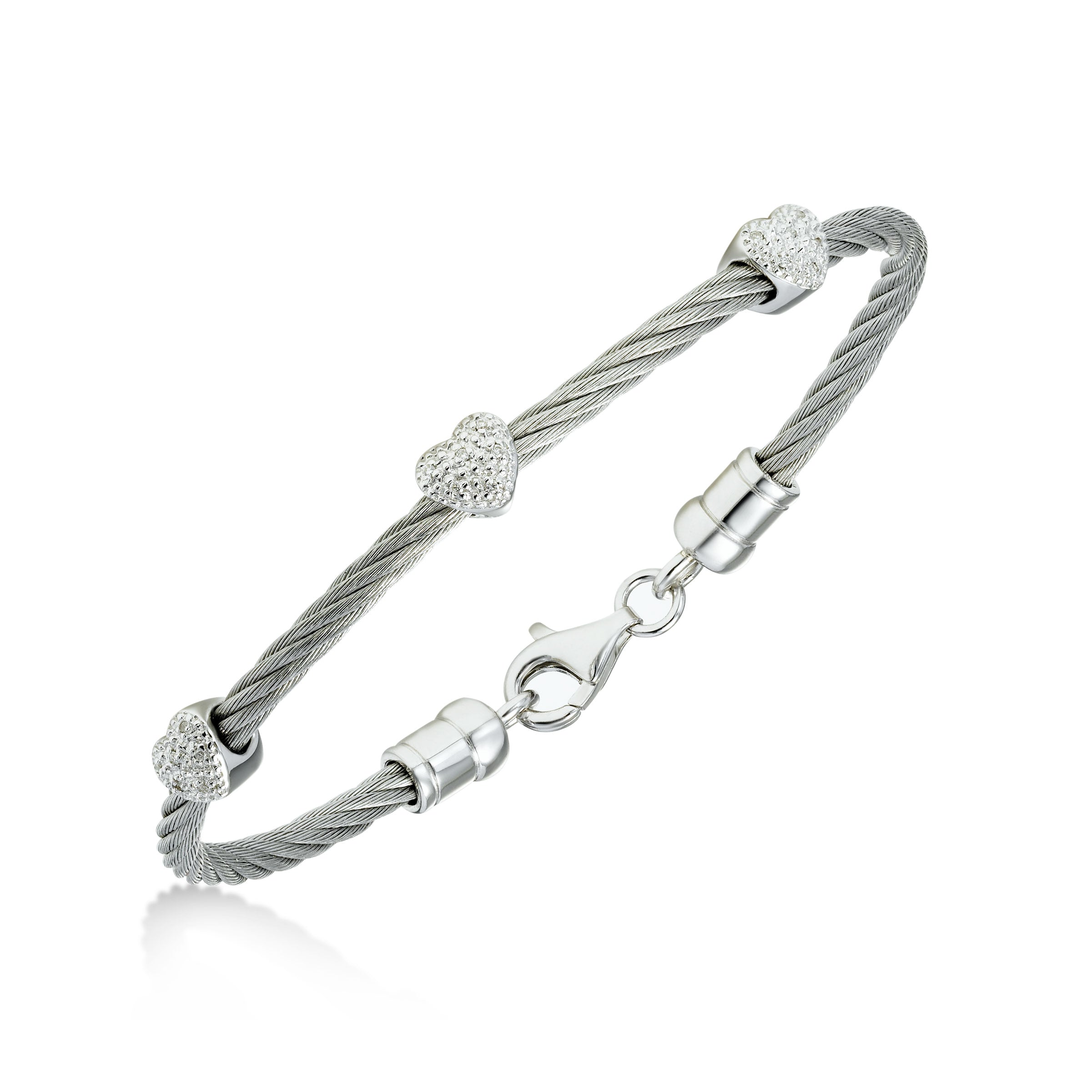 Diamond Cable Bracelet, Steel, Sterling Silver Hearts
