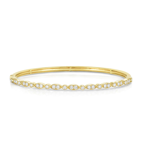 Mixed Shape Elements Diamond Bangle Bracelet, 14K Yellow Gold