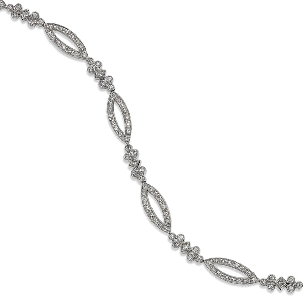 Marquise Shape Links Diamond Bracelet, 14K White Gold, Extra Long