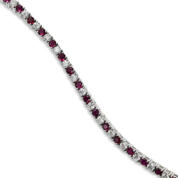 Alternating Ruby and Diamond Bracelet, 14K White Gold