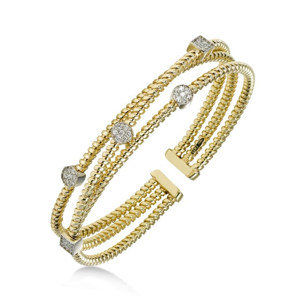 Triple Strand Diamond Cuff Bracelet, 14 Karat Gold