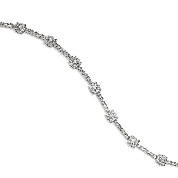 Diamond Cluster Station Bracelet, 18K White Gold