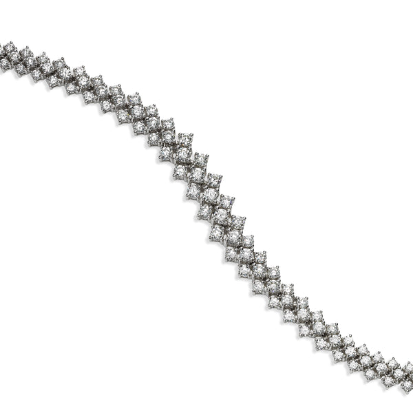 Triple Row Prong Set Diamond Bracelet, 18K White Gold
