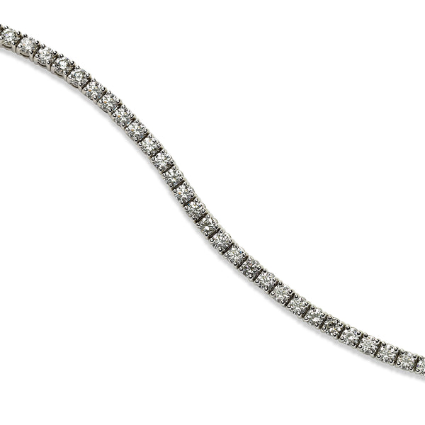 Four Prong Diamond Tennis Bracelet, 4.75 Carats, 18K White Gold