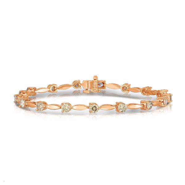 Fancy Brown Diamond Bracelet, 14K Rose Gold