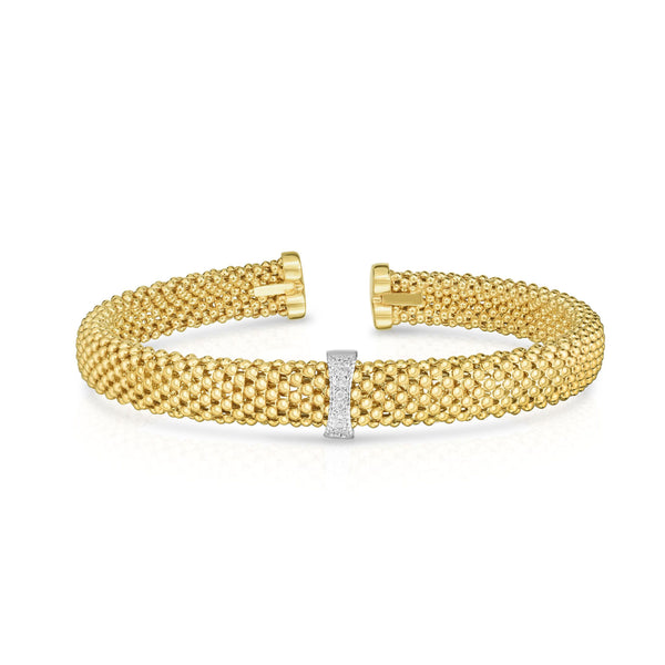 Flexible Mesh Cuff Bracelet with Diamonds, 14K Yellow Gold