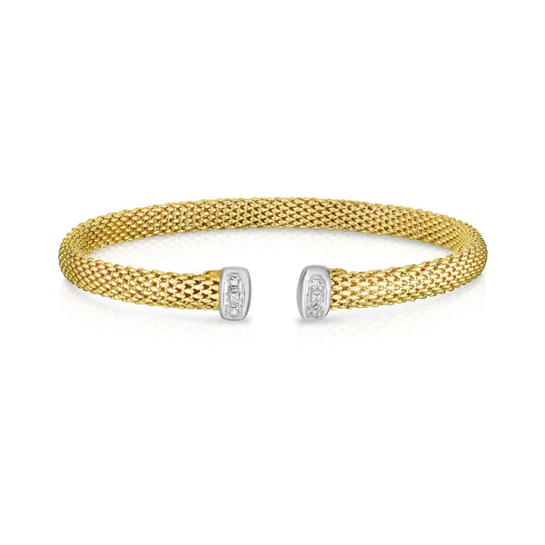 Fexible Mesh Cuff Bracelet with Diamond Accent, 14 Karat Gold