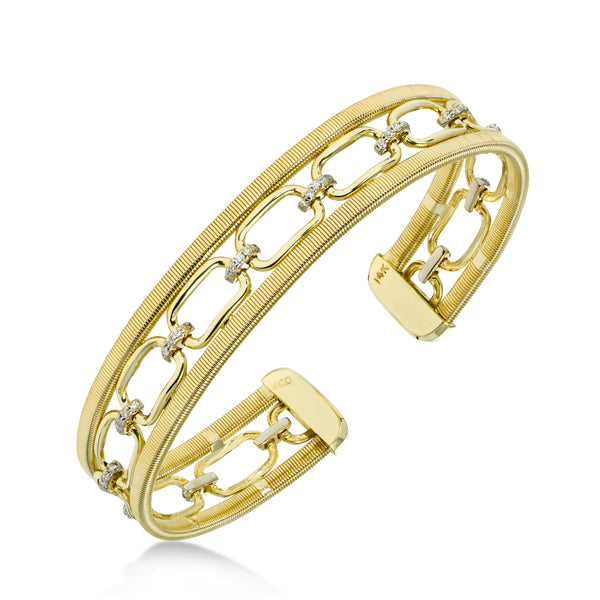Open Oval Link and Diamond Center Cuff Bracelet, 14 Karat Gold