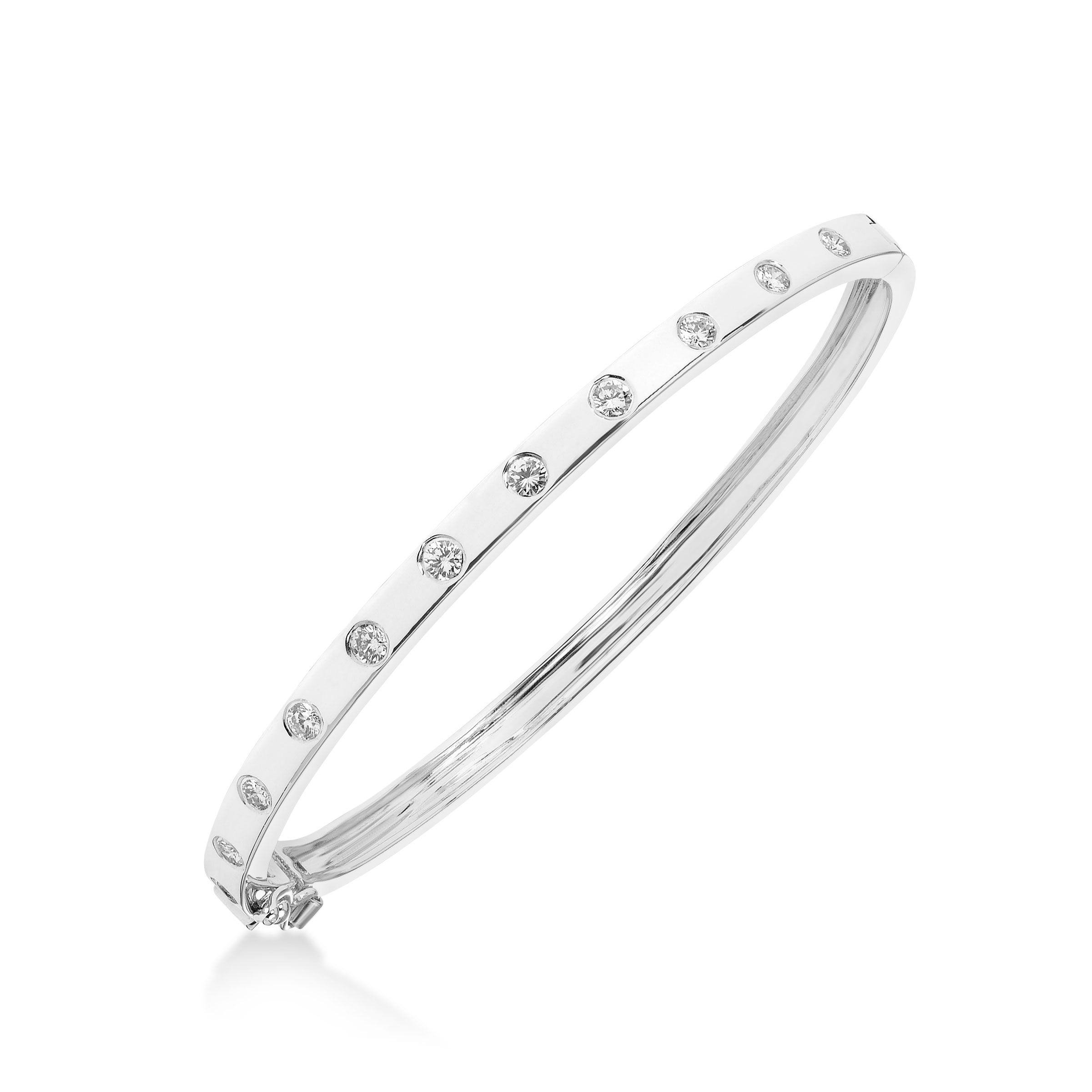 Flush Set Diamond Bangle Bracelet, 14K White Gold