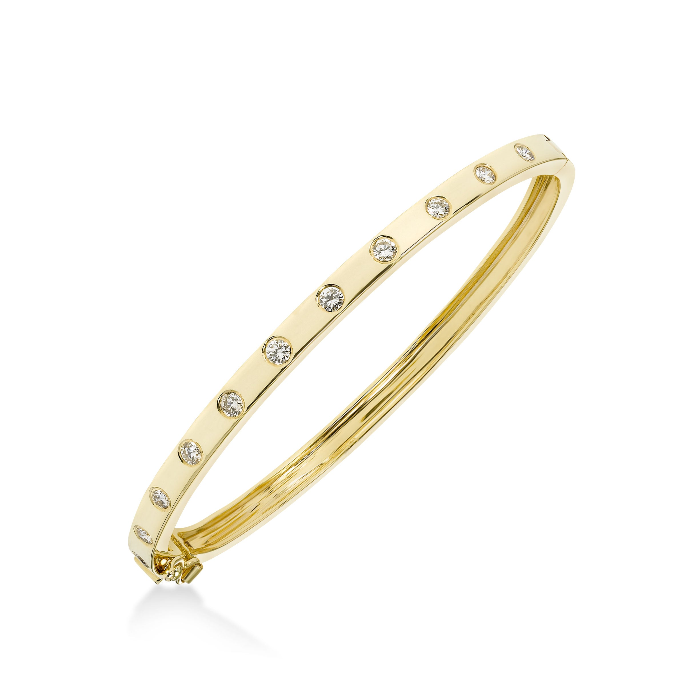 Flush Set Diamond Bangle Bracelet, 14K Yellow Gold