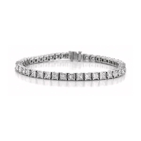 Princess Cut Diamond Tennis Bracelet, 6.64 Carats, 18K White Gold