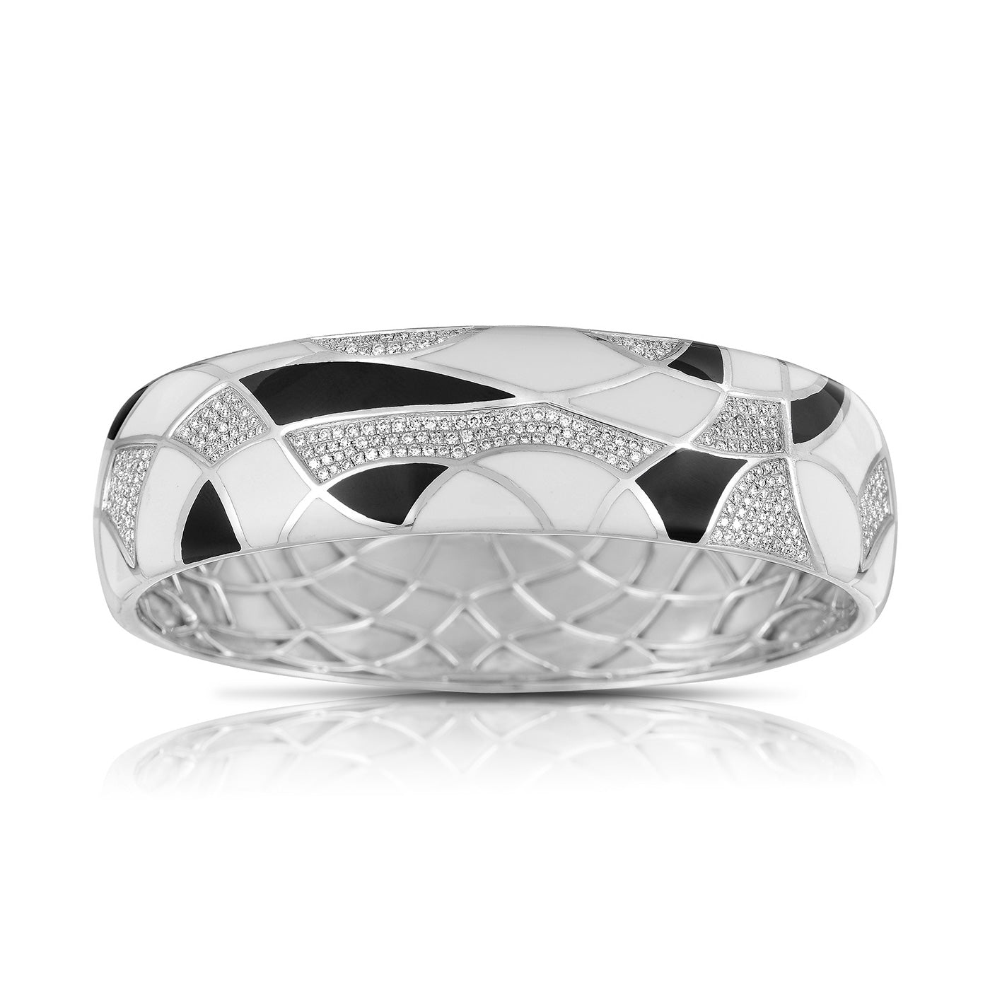 Wide Diamond And Enamel Bangle Bracelet, 14K White Gold