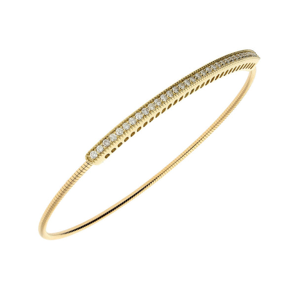 Single Row Diamond Expandable Bangle Bracelet, 14K Yellow Gold