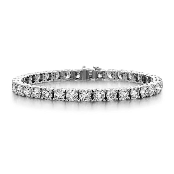 Four Prong Diamond Tennis Bracelet, 4.03 Carats, 14K White Gold