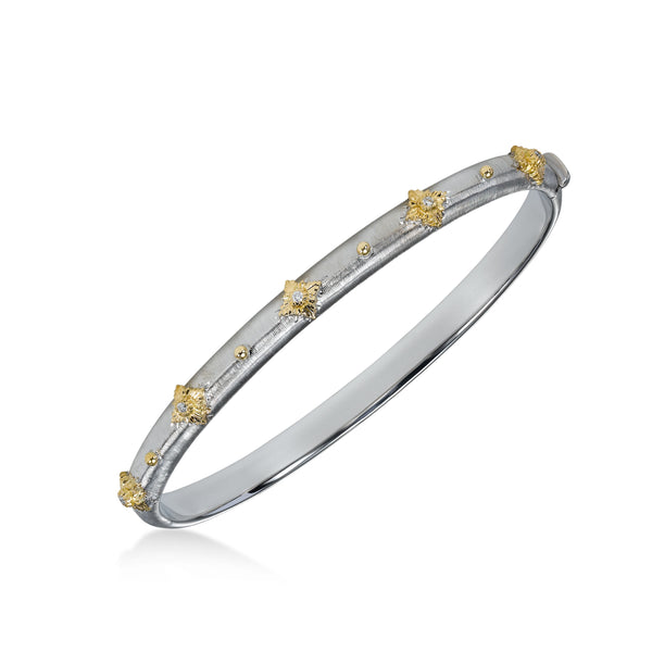 Diamond Sparkle Bangle Bracelet, 18K White Gold