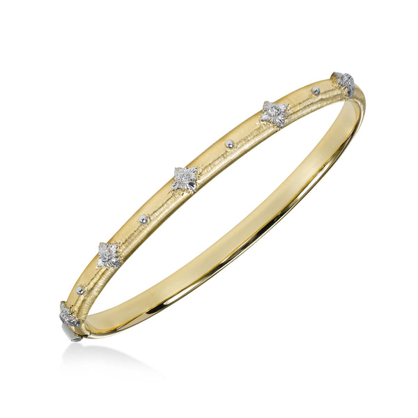 Diamond Sparkle Bangle Bracelet, 18K Yellow Gold