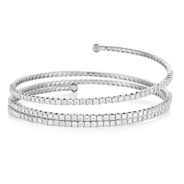 Coil Style Diamond Bangle Bracelet, 14K White Gold