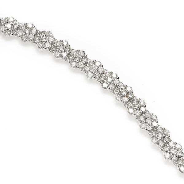 Pavé Diamond Bracelet, 5.27 Carats, 14K White Gold