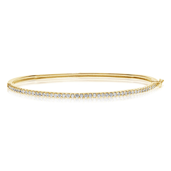 Diamond Bangle Bracelet, .75 Carat, 14K Yellow Gold