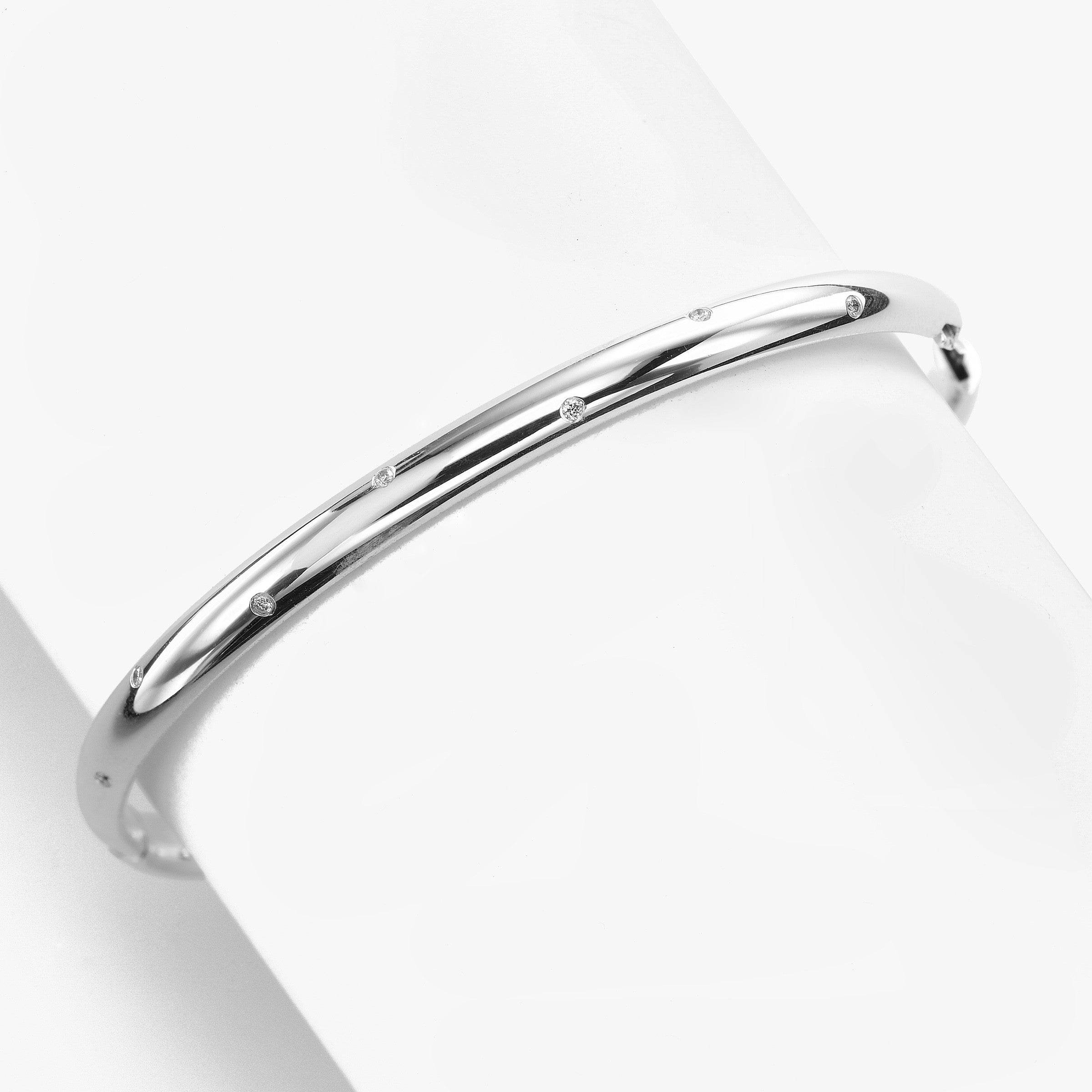 Flush Set Diamond Dome Bangle, 14K White Gold, Larger Diameter