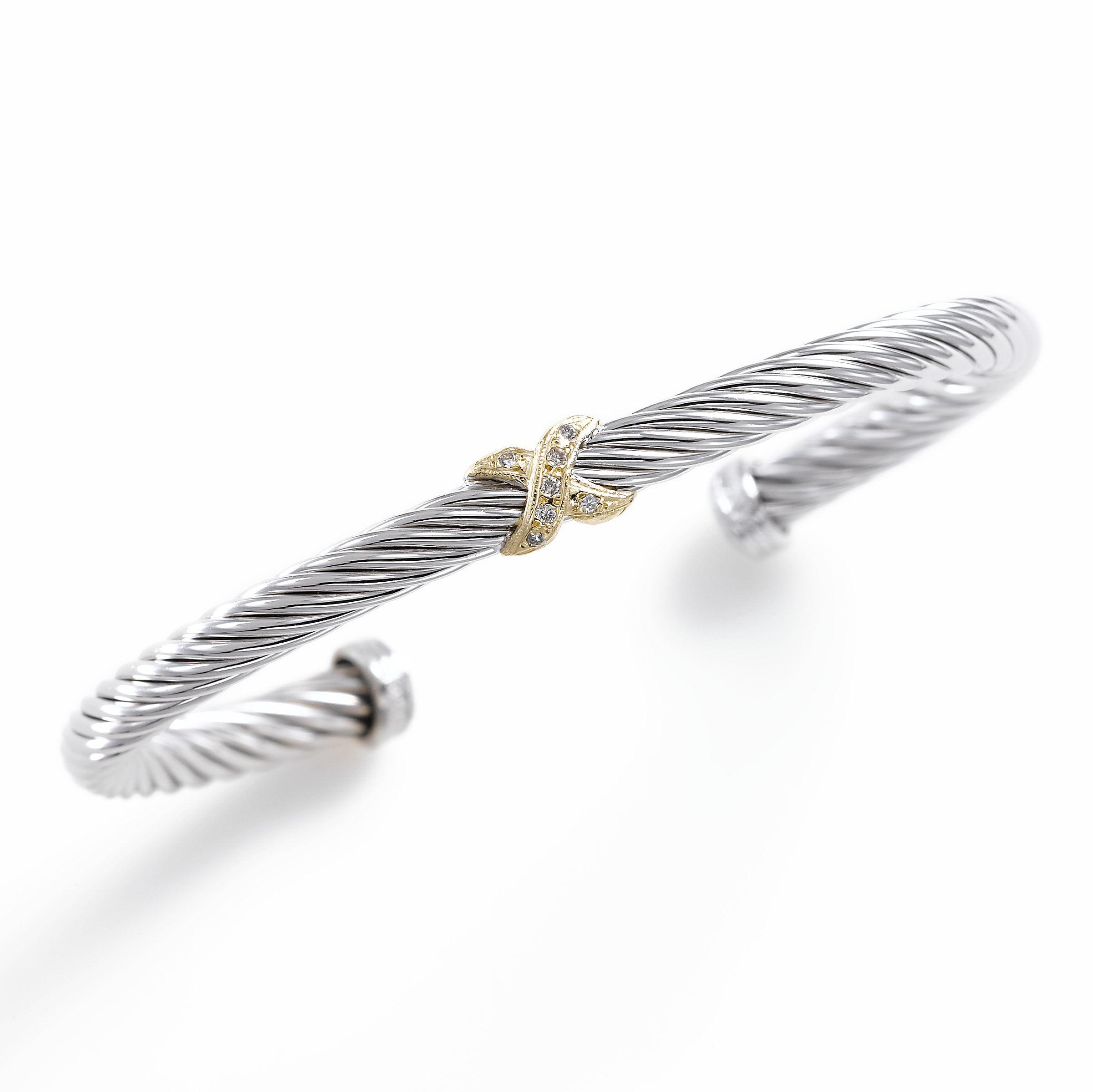 Sterling Rope Cuff with Diamonds, Sterling Silver and 14K Yellow Gold