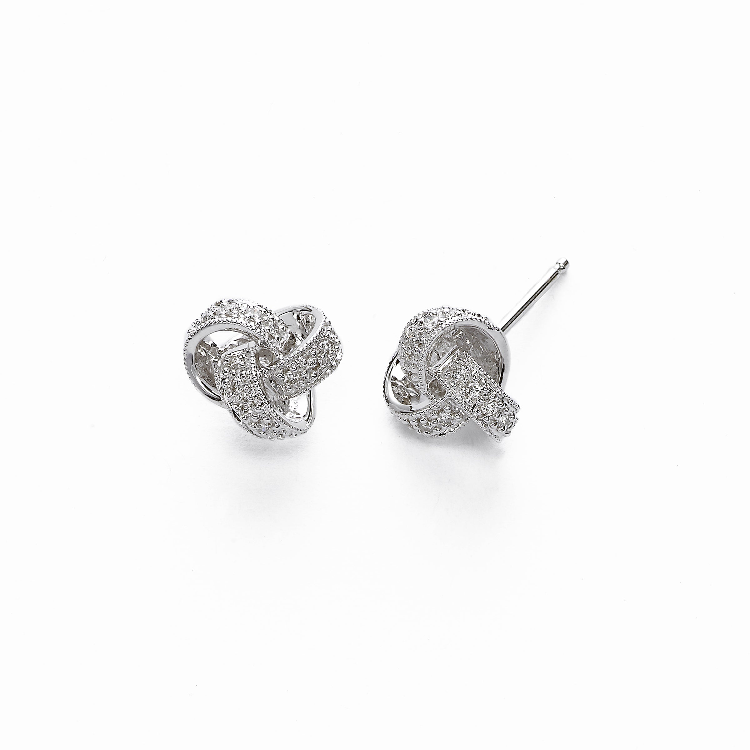 Diamond Knot Button Earrings, 14K White Gold
