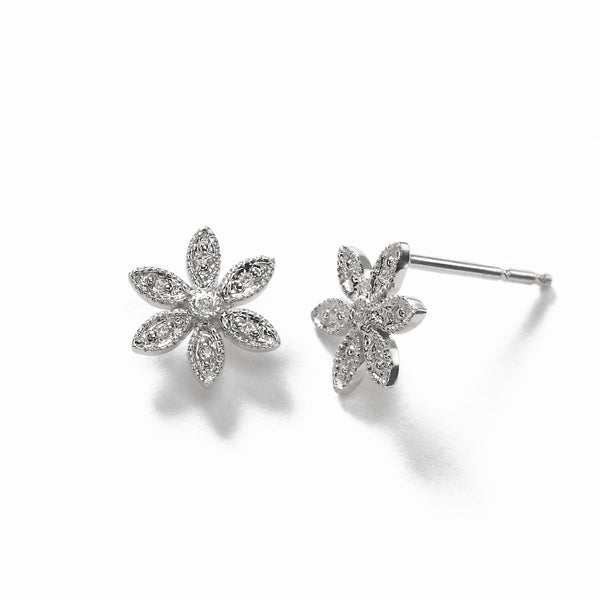 Girl's Diamond Flower Earring, 14K White Gold