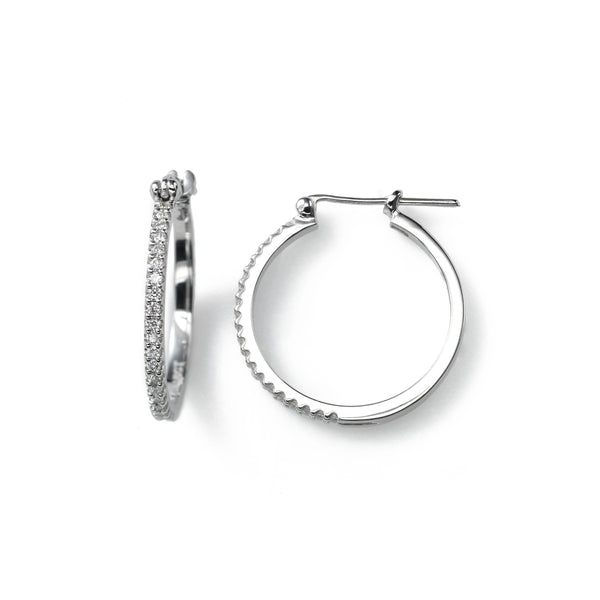 Thin Diamond Hoop, .15 Carat, Prong-Set, 14K White Gold