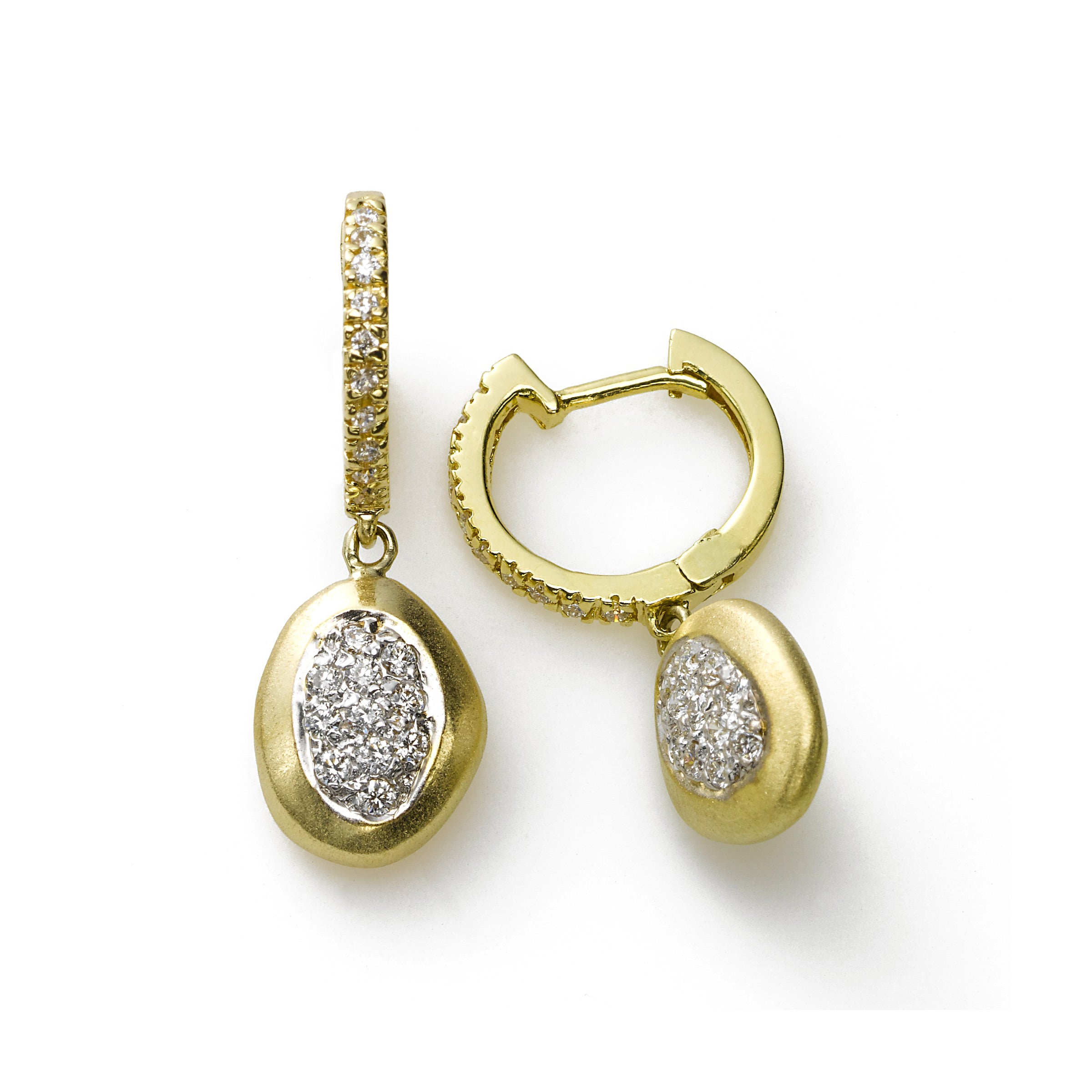 Satin Finish Oval Diamond Drop Earring, .40 Carat, 14K Yellow Gold