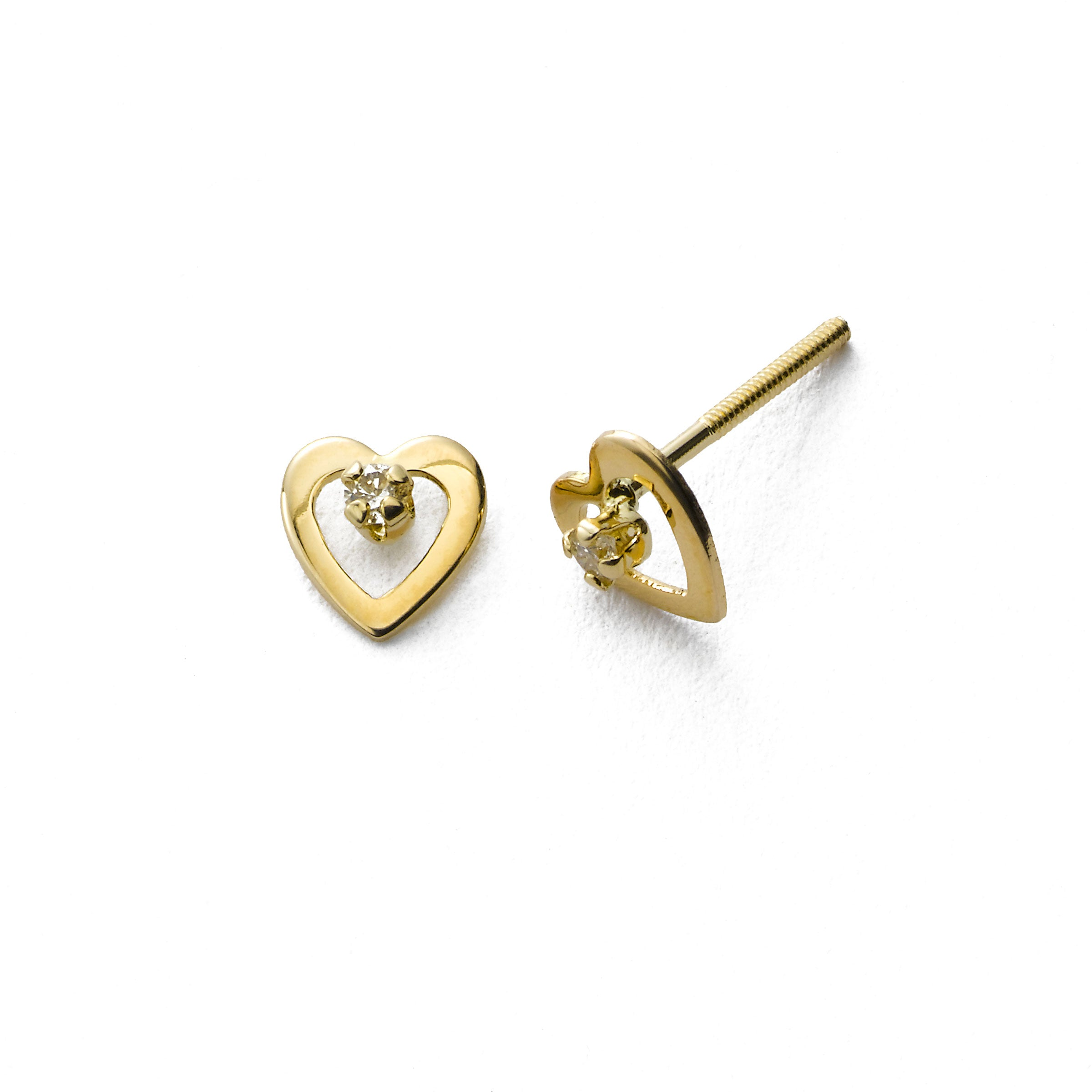 Child's Tiny Heart Earring with Diamond Accent, 14K