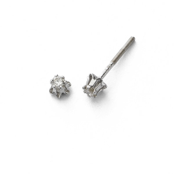 Child's Diamond Studs, .08 Carat Total, 14K White Gold, Safety Post