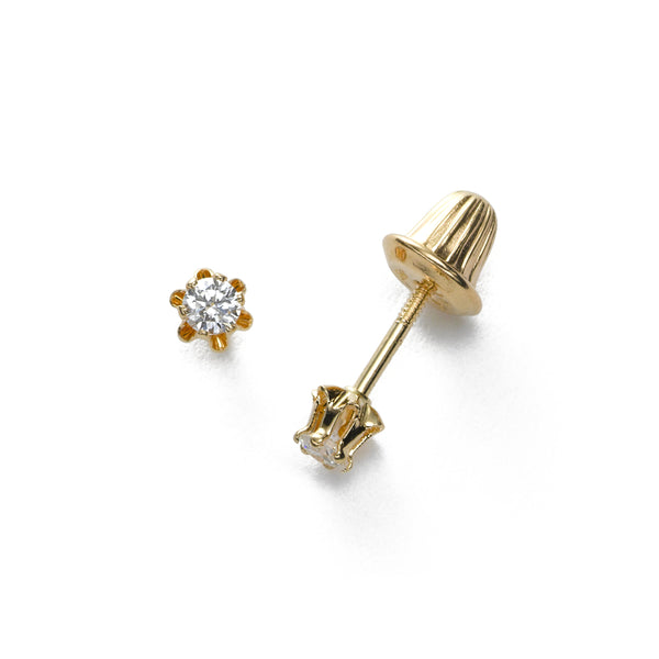 Childs Diamond Studs, .08 Carat Total, Threaded Post, 14 Karat Yellow Gold