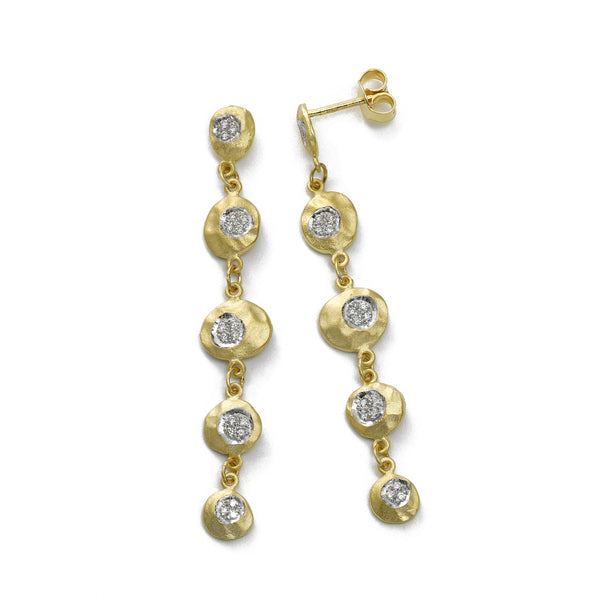Diamond Disc Dangle Earrings, 14K Yellow Gold